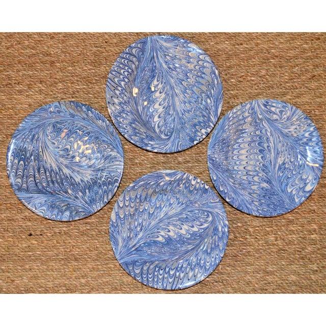 Delft Blue Firenze Marbleized Ceramic Cocktail Plates - Set of 4 For Sale - Image 10 of 10