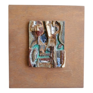 Rosemary Zwick Abstract Figures Ceramic Bas-Relief Wall Sculpture For Sale