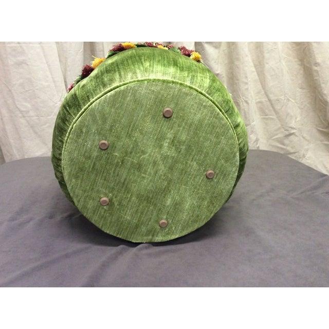 Green Velvet Tassel Ottoman For Sale - Image 7 of 7