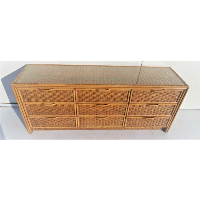Bamboo & Wicker 9-Drawer Dresser For Sale - Image 4 of 5
