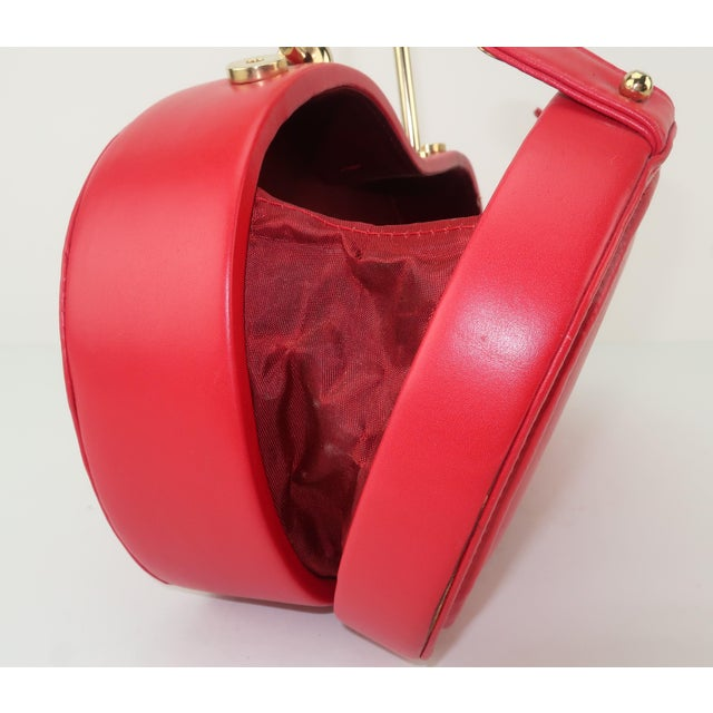 Freon Firenze Italian Red Leather Handbag With Unique Handle For Sale - Image 10 of 12