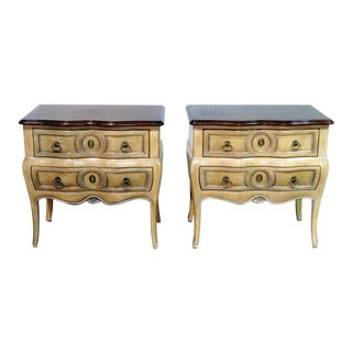 20th Century French Auffray Brass Colored Nightstands - a Pair