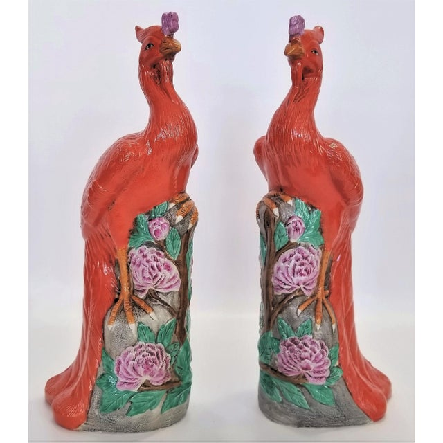 Mid 20th Century Rare Orange Large Famille Rose Phoenix Sculpture Figurines -Pair- Feng Shui - Chinese Chinoiserie Palm Beach Boho Chic Tropical Coastal Botanical For Sale - Image 5 of 13