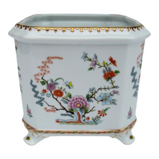 C.1970s Gilt White Porcelain Asian Chinoiserie-Style Orchid Planter or Cachepot Andrea by Sadek For Sale