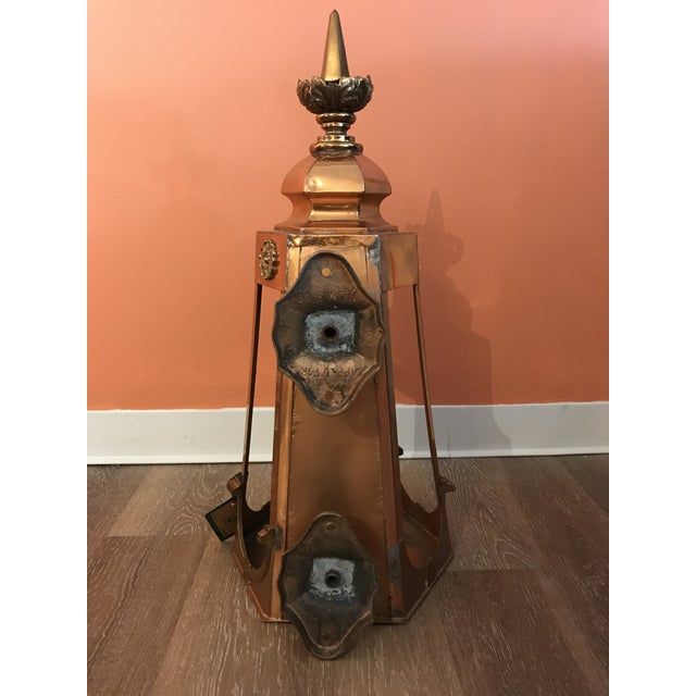 1950s Six Sided Copper Wall Mount Lantern For Sale - Image 4 of 10
