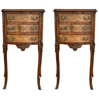 Pair of French Louis XV Style Walnut Bedside Tables With Drawers For Sale