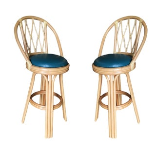 Diamond Back Rattan Swivel Bar Stools - a Pair For Sale