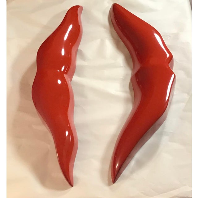 Handcrafted 3-D Red Lips Fashion Wall Object For Sale - Image 6 of 11