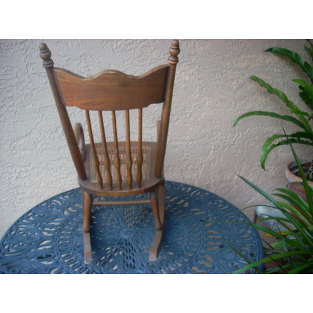 Wood Child's Caned Rocking Chair For Sale - Image 7 of 7