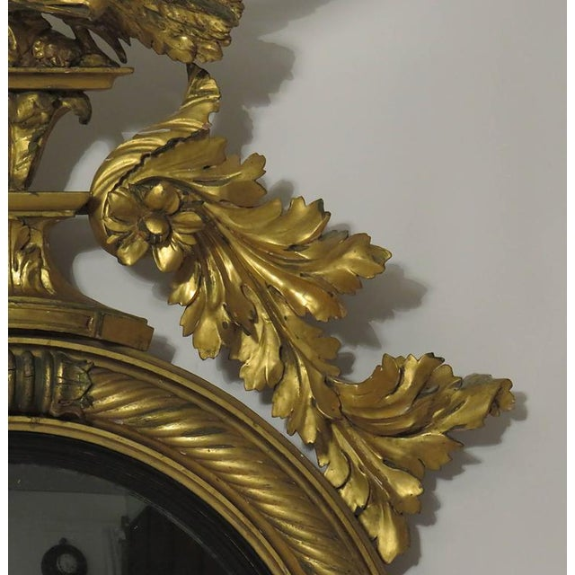 English Traditional 19th Century Large English Regency Period Convex Mirror For Sale - Image 3 of 4