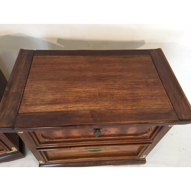 Solid Wood Asian Ming Campaign Nightstands - A Pair For Sale - Image 4 of 10