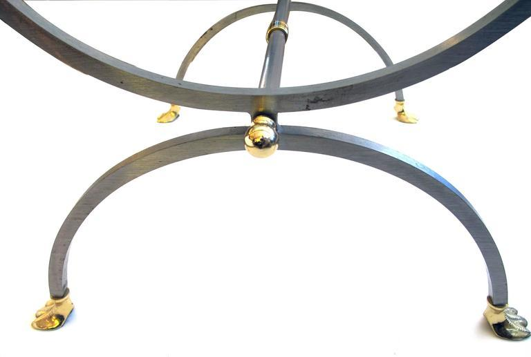 Good Quality French Brushed Steel U0026 Brass Side Table W Glass Top U0026 Swan  Supports