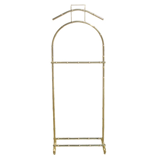 Vintage Brass Faux Bamboo Clothing Valet For Sale
