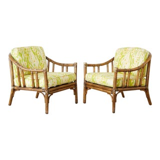 Pair of McGuire Organic Modern Bamboo Rattan Lounge Chairs For Sale