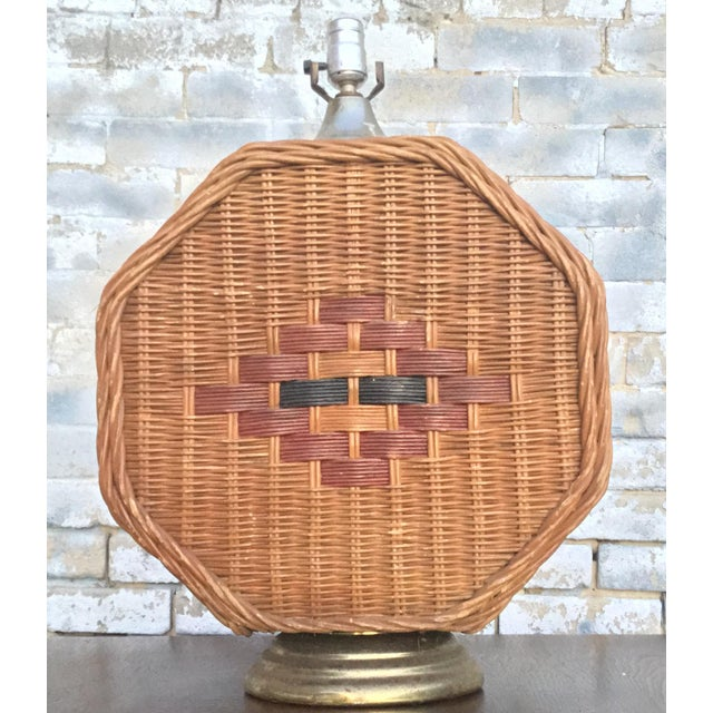 Mid Century Vintage Octagonal Wicker Lamp For Sale - Image 6 of 6