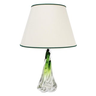 Val Saint Lambert Twisted Green Lamp For Sale
