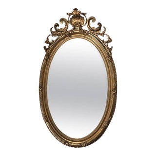 19th Century French Louis XVI Gilded Oval Mirror For Sale
