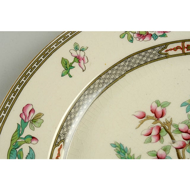 """Crown Ducal Indian Tree 12"""" Round Platter features multicolor floral tree design with greek key accents and gold trim...."""
