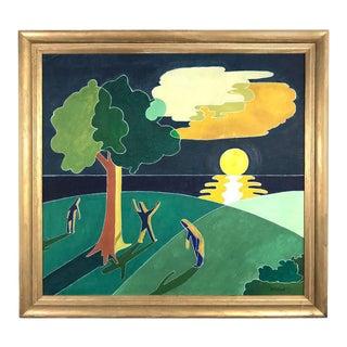 W.F. Elrod Art Deco Landscape Painting