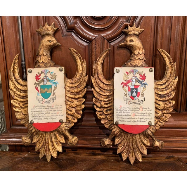 Pair of Early 20th Century Spanish Carved Giltwood and Polychrome Wall Shields For Sale - Image 13 of 13