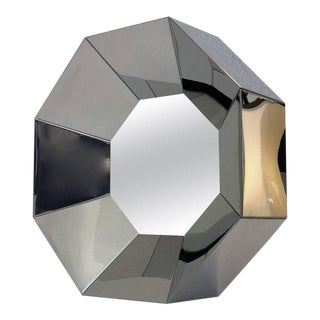 Octagonal Shape Chrome Mirror by Curtis Jere For Sale