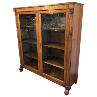 Antique Oak Bookcase With Original Keys For Sale