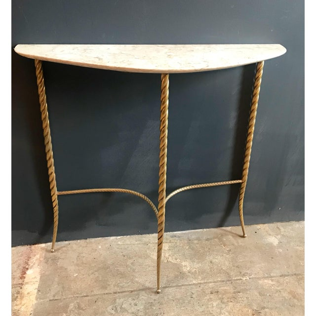 Console Table With Marble Top and Brass Legs, Italy 1940s For Sale - Image 4 of 13