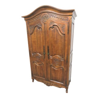 Louis XV Hand Carved Walnut Armoire For Sale