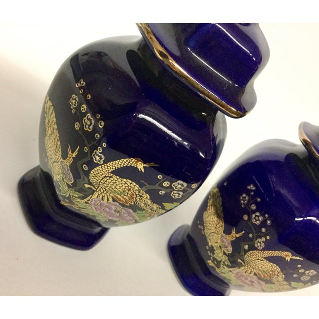 Mini Japanese Cobalt Ginger Jars - A Pair For Sale - Image 5 of 11