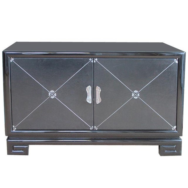 Grosfeld House Leather-Detailed Occasional Cabinet - Image 1 of 9