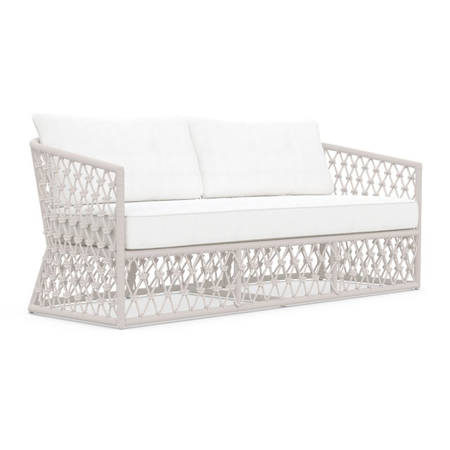 Metal Amelia 3 Seat Sofa in Sand with White Cushions For Sale - Image 7 of 7