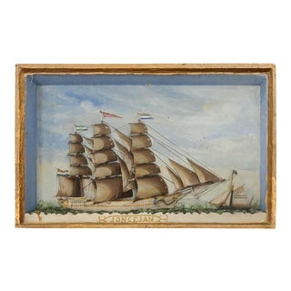 19th Century French Framed Nautical Diorama For Sale