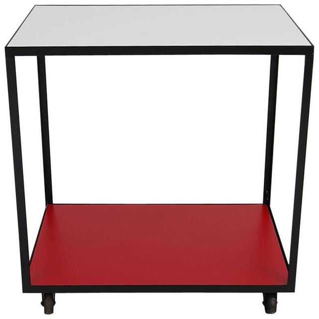 Mid-Century Modern George Nelson Steel Frame Rolling Cart For Sale - Image 3 of 3