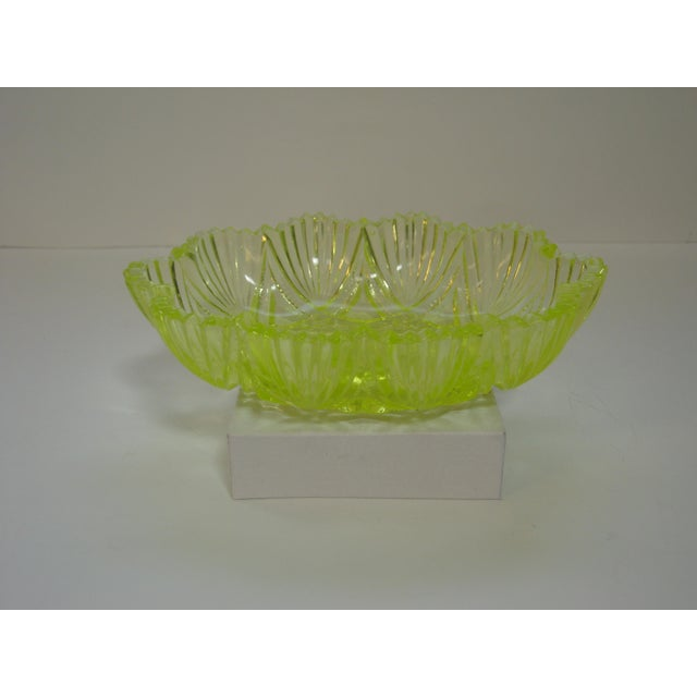Antique EAPG vaseline glass (which glows under black light) canary yellow candy dish with pleasing pattern. Great size