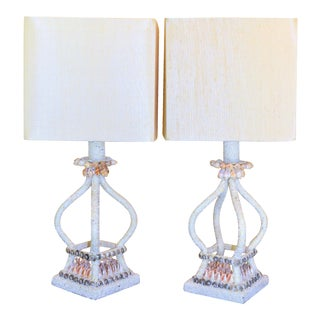 Currey and Company Sea Shell Encrusted Table Lamps - a Pair