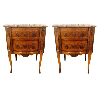 Pair of Marble-Top French Louis XV Style Commodes or Nightstand End Tables For Sale
