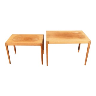 Set With Two Danish Modern Heltborg Mobler Nesting Tables Made in Denmark For Sale