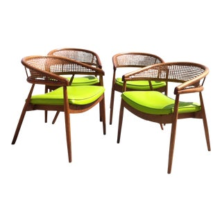 Thonet James Mont Bent Wood & Cane Armchairs - Set of 4