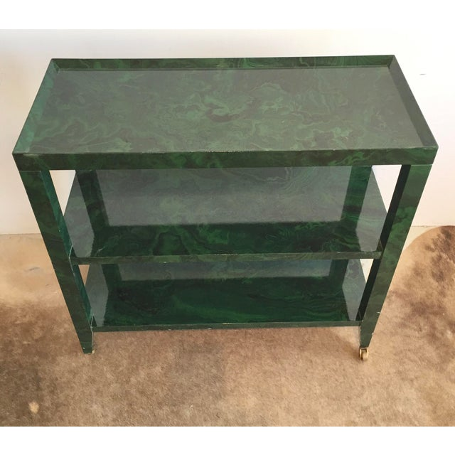 1960s Mid-Century Modern Faux Malachite Bar Cart on Wheels For Sale - Image 4 of 10