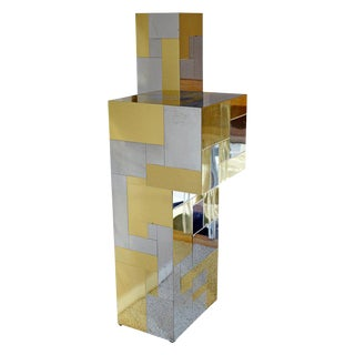 1970 Mid-Century Modern Style Paul Evans Cityscape Chrome Brass Pedestal Display Stand For Sale