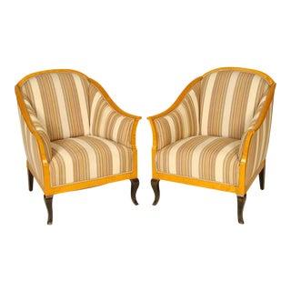 Biedermeier Revival Club Chairs - A Pair For Sale