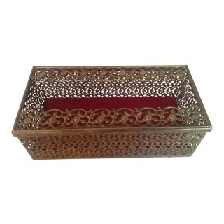 Mid Century Hollywood Regency Pierced Tissue Box For Sale