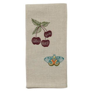 Cottage Cherries & Butterfly Tea Towel For Sale