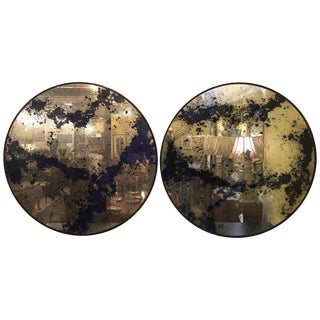 Monumental Art Deco Black & Silver Distressed Wall Console Mirrors - A Pair For Sale