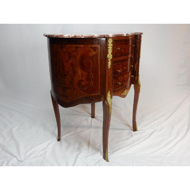 Rosewood 19th C. Italian Marquetry Marble Top Inlaid Table For Sale - Image 7 of 11