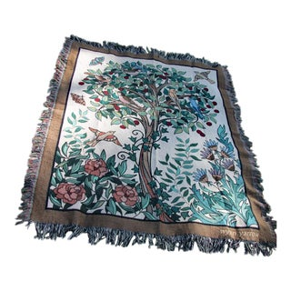 """Arts and Crafts-Style """"Tree of Birds"""" in Cream Jacquard Woven Throw Blanket For Sale"""