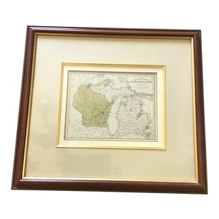 1990s Framed Wisconsin/Michigan Map For Sale