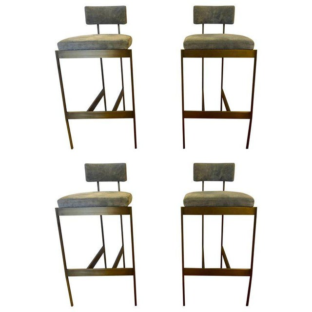 Set of Four Powell and Bonnell 'Alto' Suede Bar Stools For Sale - Image 13 of 14