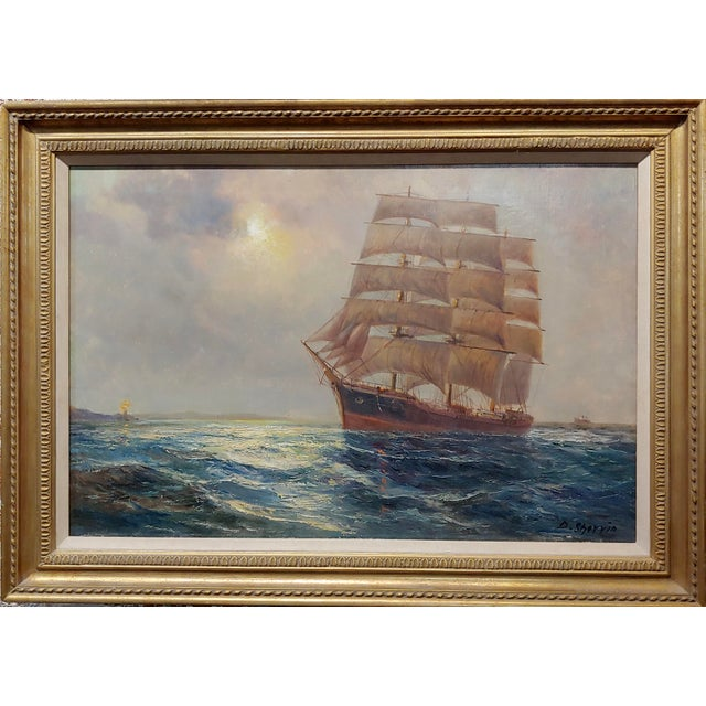 Daniel Sherrin The Elder - Clipper Ship Seascape - 19th century Oil painting oil painting on canvas -Signed circa 1890s...
