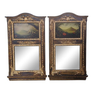 Monumental Neoclassical Inspired Peter Edlund Oil Painting Wall Mirrors - A Pair For Sale